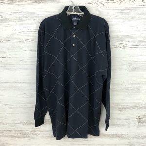 JACK NICKLAUS TOUR Diamond Plaid Long Sleeve Polo